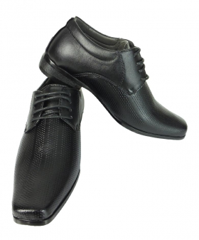 View of the Robert Simon Boys Patterned Lace Up Shoes in Black