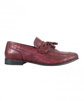 Side view of the Men's Brindisi Moccasins Loafers Leather Shoes in Dark Red