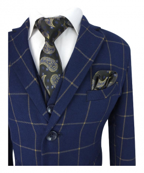 Near view of the Boys Navy Blue & Gold 6 Piece Windowpane Check Suit Set