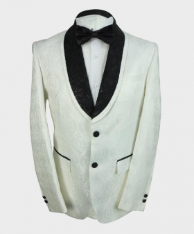 View of the blazer jacket with shirt and bow tie from the Mens Embroidered White Wedding Groom Blazer