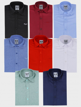 Boys Casual Oxford Cotton Slim Fit Long Sleeve Shirt multi colours front picture