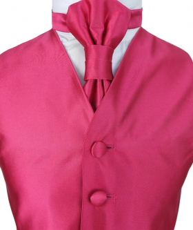 Romano Vianni Boys Cerise Pink Satin Waistcoat & Adjustable Cravat Set