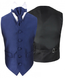 Romano Vianni Boys Navy Blue Satin Waistcoat & Adjustable Cravat Set