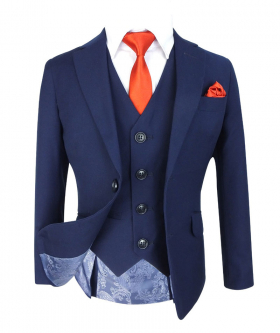 Boys Slim Fit  3 Piece French Blue Suit Jacket and waistcoat with accessories front open picture
