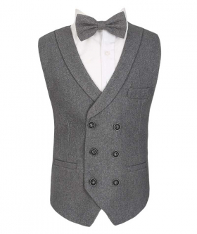 Flamingo Mens Boys Grey Herringbone Tweed Waistcoat Sets