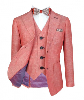 Boys Red Tailored Fit Italian Linen Wedding Pageboy  Jacket and single-breasted waistcoat Suit with shirt and accessories front open picture