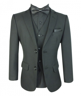 View from the blazer, waistcoat, shirt and bow tie of the Boys All In One Wedding Suit Set in Black