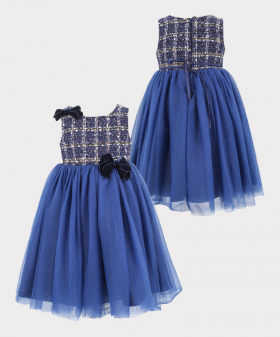 Girls Tweed Puffy Tailored Fit Dress in Navy Blue Front and Back pictures