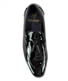 Top view of the Men's Black Moccasin Patent Leather Loafer Shoes
