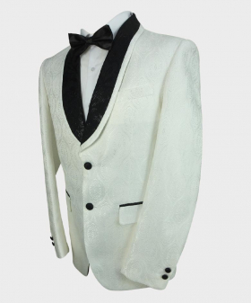 Side view of the blazer jacket with shirt and bow tie from the Mens Embroidered White Wedding Groom Blazer