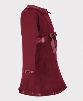 Girls Winter Coat Felted Wool 2 PC Set in Burgundy Side picture