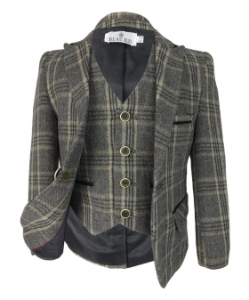 View from the blazer jacket and waistcoat of the Beau KiD Boys Herringbone Tweed Brown Check Suit with Elbow Patches