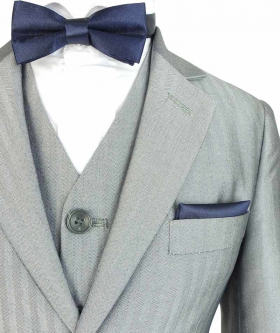 Near view of the Boys Romano Herringbone Patterned Slim Fit Suit in Light Grey