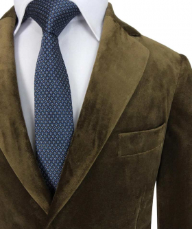 Near view of the Romano Boys Velvet Coffee Brown Suit Sets