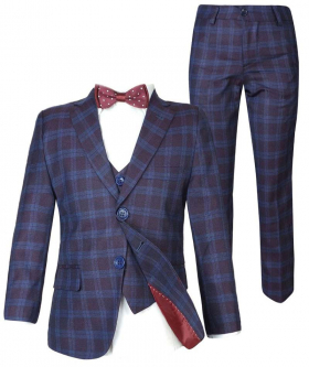 Boys Navy Maroon Check Suit