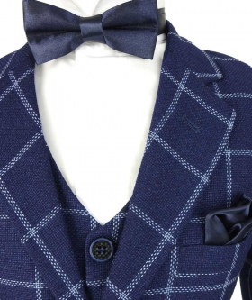Flamingo Boys Modern fit Check Suit in Navy Blue jacket and bow tie near view
