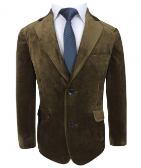 Closed front view from the blazer jacket of the Romano Boys Velvet Coffee Brown Suit Sets