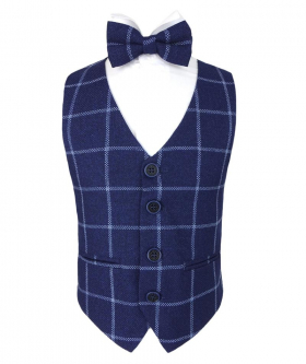 Front view of the Boys Check Waistcoat Set in Navy Blue