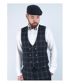 View of the Men's Hardy Navy Blue Vintage Tweed Check Double Breasted Waistcoat worn by a model