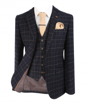 Men's Tweed Check Wool Blend Shelby Jacket with single-breasted waistcoat and accessories front open picture