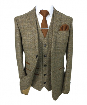 Paul Andrew Father and Son Tailored Fit Textured Tweed Suit in Brown