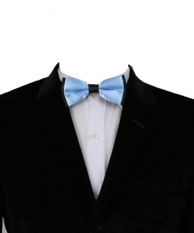 View of the Boys Classic Neck Strap Adjustable Solid Sky Blue Bow Ties with shirt and blazer jacket