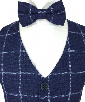 Near view of the Boys Check Waistcoat Set in Navy Blue