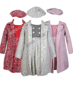 Girls Embossed Print Winter Coats - Red, Ivory, Pink