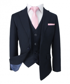 Romano Boys Slim Fit French Navy Blue Suit, open view of the Jacket with waistcoat, shirt, tie and hanky