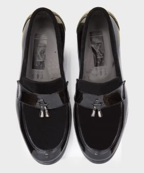 Boys Patent & Suede Loafers in Black