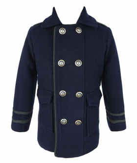 Couche Tot Boys Coat and Hat Set in Navy Blue