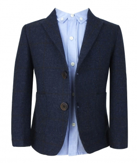 View from the blazer jacket and shirt of the Boys 4 Piece Tweed Suit in Navy Blue with Brown Check