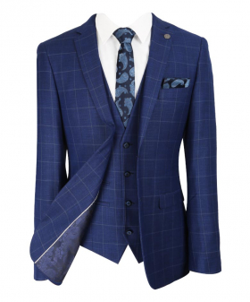 Paul Andrew Mens Rover Blue Windowpane Check Suit