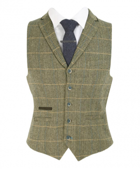 Men's Herringbone Check Tweed single-breasted  waistcoat with navy blue tie front picture