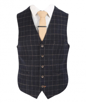 View from the waistcoat with shirt and tie of the Mens Shelby Navy Blue Check Tweed Retro Waistcoat