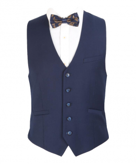 Men's Navy Blue Formal Waistcoat view with a shirt and bow tie