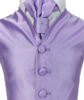Romano Vianni Boys Lilac Satin Waistcoat & Adjustable Cravat Set