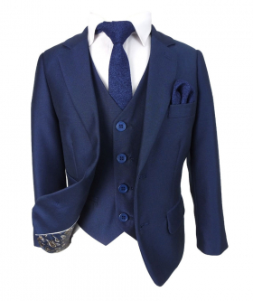 Boys Italian Tailored Cut French Navy Blue Suit
