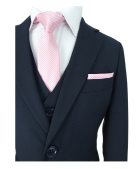 Romano Boys Slim Fit French Navy Blue Suit, near view of the Jacket with waistcoat, shirt, tie and hanky