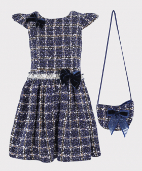 Girls Tweed Check Tailored Fit Dress 2 PC Set in Navy Blue