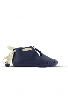 Baby Boys Genuine Leather Soft Sole Prewalker Open Side Crib Shoes in Navy Blue side detail picture