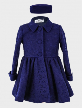 Baby Girl Coat 2 Piece Lace Embroidered Floral Set in Navy Blue
