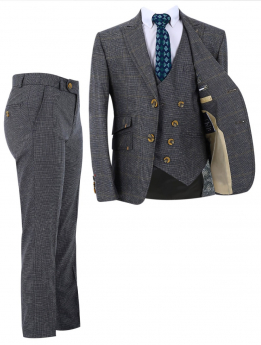 Boy's Check Slim Fit Suit Formal 3 Piece Set in Grey front picture