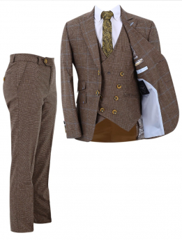 Boy's Check Slim Fit Suit Formal 3 Piece Set in Tan Brown front picture