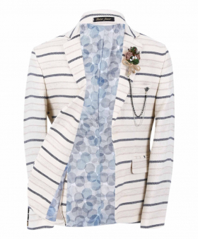 Boy's Horizontal Striped Slim Fit Fashion Blazer in Beige with Navy Stripes  front open picture