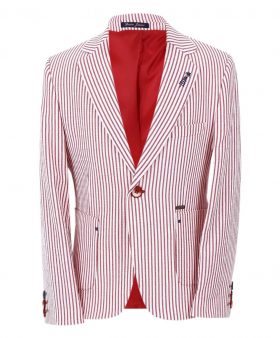 Boy's Striped Boating Slim Fit Blazer in Red front picture