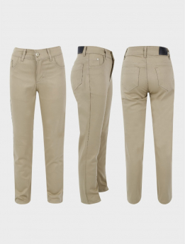 Boys Casual Stretch Chino Trousers in Beige three side pictures