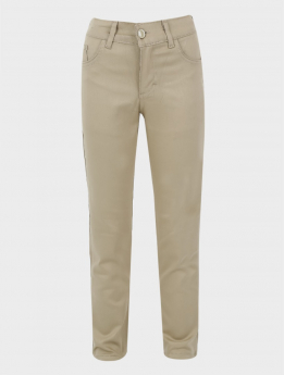 Boys Casual Stretch Chino Trousers in Beige front picture