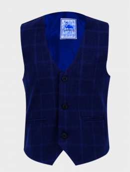 Boys Tweed Windowpane Check  Slim Fit Cotton Waistcoat in Navy Blue  front picture