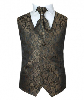 Boys Paisley Design 2 Piece Formal Page Boy Wedding Party Brown Gold Waistcoat Cravat Set